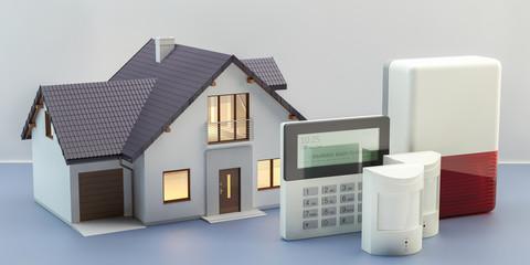 Obraz Alarm system and house, 3d illustration - fototapety do salonu