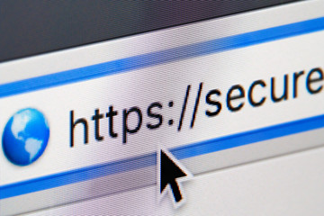 Secure website internet address in browser window. Close up of a computer screen.