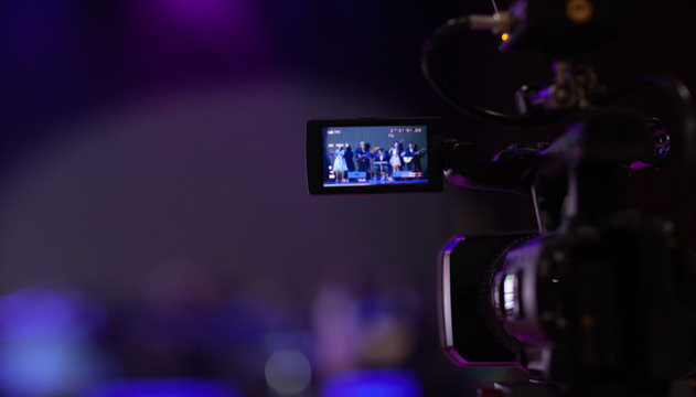 camera show viewfinder image catch motion in interview or broadcast wedding ceremony, catch feeling, stopped motion in best memorial day concept.Video Cinema From camera. video cinema production .