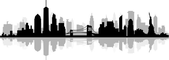 New York City Skyline SIlhouette Wall mural