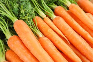 Fototapeta Ripe fresh carrots as background, space for text obraz