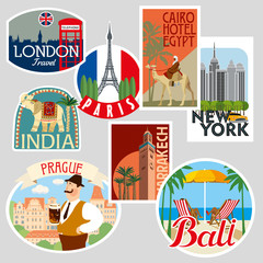 Set of travel stickers. Cities of the world. Vector illustration