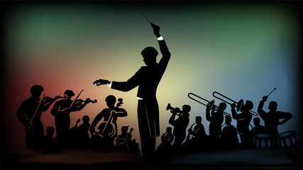 Flat monochromatic silhouette of an orchestra under the direction of a conductor against the background of bright multi-colored spots from spotlights