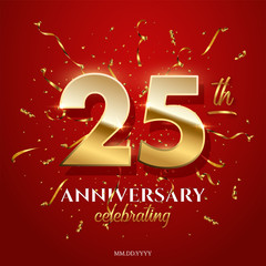 25 golden numbers and Anniversary Celebrating text with golden serpentine and confetti on red background. Vector twenty fifth anniversary celebration event square template.