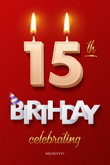 Burning Birthday candles in the form of number 15 figure and Happy Birthday celebrating text with party cane isolated on red background. Vector fifteenth Birthday invitation template.