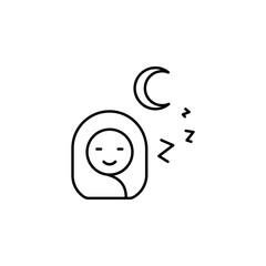 Night, baby, sleeping icon. Element of maternity culture. Thin icon for website design and development, app development. Premium icon