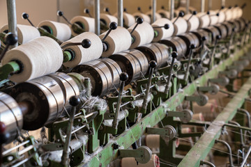 interior of textile factory.Yarn manufacturing.Industrial concept.