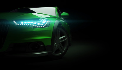Stylish car on a black background with led lights on. Futuristic modern vehicle head light xenon on dark. 3d render Wall mural
