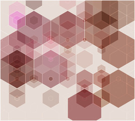 Abstract background consisting of brown hexagons. Vector illustration