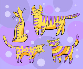 yellow - violet cats on a lilac background