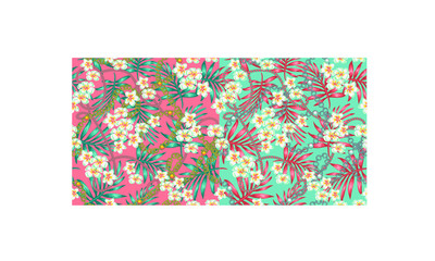 Luxurious, elegant pattern with fashionable accessories tropical flowers the splendor of the 80-ies in color live coral and turquoise seamless pattern with chains