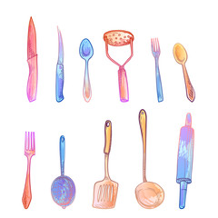 Lamas personalizadas para cocina con tu foto Cutlery sketch set. Imitation of watercolor stains.