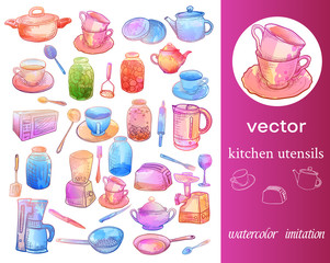 Lamas personalizadas para cocina con tu foto Big set of sketches imitation of watercolor and kitchen appliances.