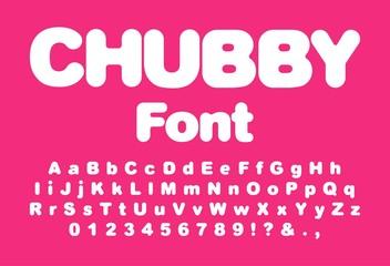 Interesting chubby child font. Vector Illustration