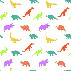 Seamless pattern with multicolors dinosaurs on the white background