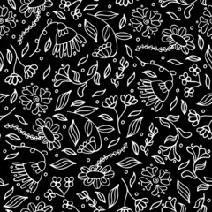 Black and white abstract seamless flower pattern. Doodle floral drawing textile design in doodle style on black background. Monochrome endless surface texture. Vector illustration