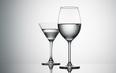 empty  wine glasses on  background