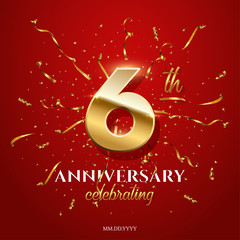 6 golden number and Anniversary Celebrating text with golden serpentine and confetti on red background. Vector sixth anniversary celebration event square template.