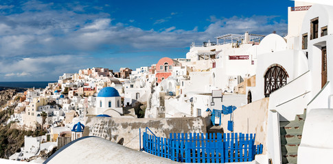 Panorama Oia Village architecture. Greece Santorini Island