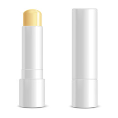 Realistic 3d Detailed White Blank Lip Balm Stick Template Mockup Set. Vector