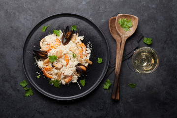 Delicious seafood risotto