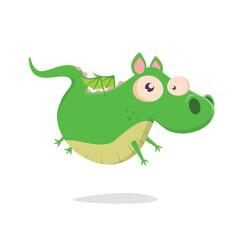 funny vector illustration of a green cartoon dragon