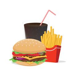 cartoon illustration of hamburger french fries and cola