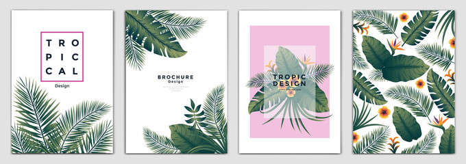 Tropical Brochure Design Layout Template in A4 size, greeting cards. Frame with tropic leaves. Ideal for party poster, greeting card, banner or invitation. Vector Illustration Wall mural