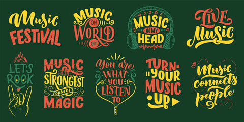 Set with inspirational quotes about music. Hand drawn vintage illustration with lettering. Phrases for print on t-shirts and bags, stationary or as a poster.