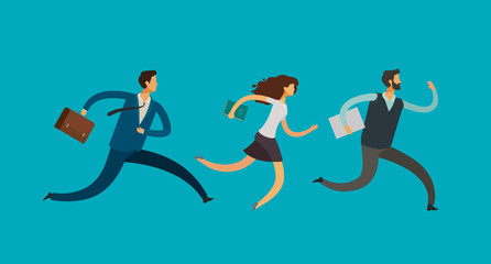 Business people run. Deadline, competition concept. Vector illustration