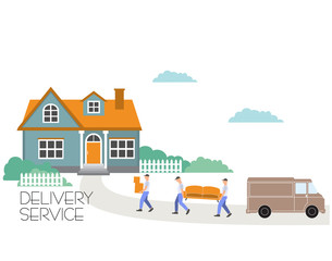 Vector cartoon style illustration porters carry sofa and boxes. Moving to a new house.Transport company. Goods delivery