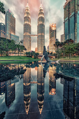 Fototapete - Petronas twin towers in KLCC district Kuala Lumpur