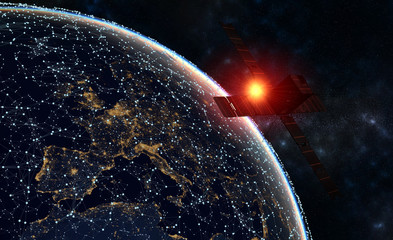 satellite over Europe-Global network concept,the rising sun over the planet earth-3d render