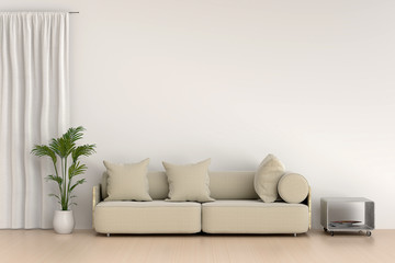modern living room with sofa and furniture. Feeling relax time. Minimal style concept.