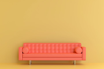 modern yellow  living room with orange sofa and furniture. Feeling relax time