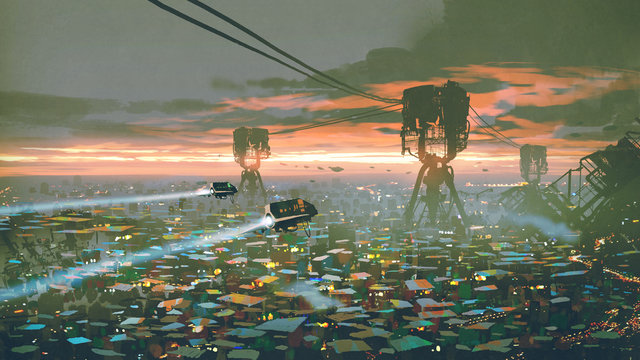 cityscape of slum city in futuristic world, digital art style, illustration painting