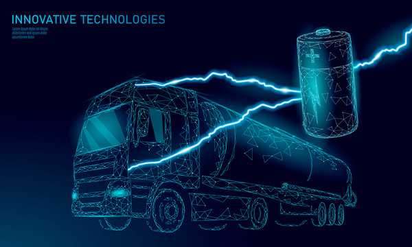 Power battery electric truck low poly.Rechargeable ecological environment green transport business trailer. Fast speed semi-trailer perspective view on highway. 3D vector illustration