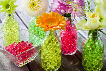 Decorating with water hydro bubbles and flowers