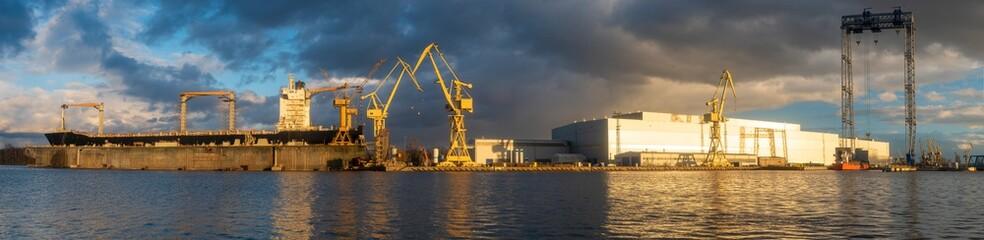 panorama of a modern shipyard