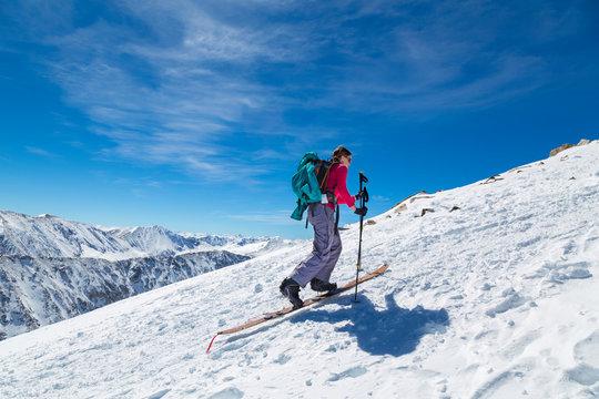 Woman Splitboarding Colorado 14er