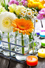 Decorating with flowers, vases and candles