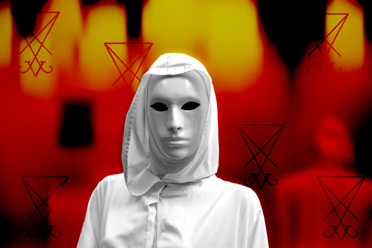 priestess of red magic, sorcerers with magical mask occult Masonic Lodge.  Fire background and a sigil of Lucifer  divination symbols. Ancient occult symbols