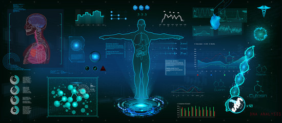 Modern medical examination HUD style. Human body scan (Anatomy, Ecg monitor, Dna formula, X-ray, Medical Infographic, Data monitors, Statistic and Diagrams)  Healthcare infographic Hud style (vector)