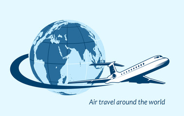 Airliner flying around the planet a symbol of international air travel.