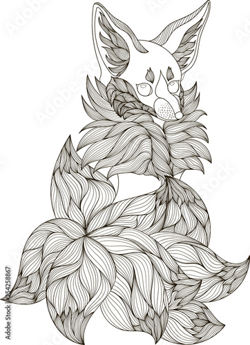 Drawing Fox In Zentangle Style For Coloring Book Tattoo Shirt