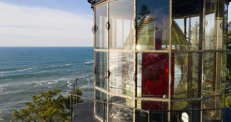 Close Up Cape Meares Lighthouse Fresnel Lens Pacific Ocean