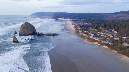 Aerial View Over Cannon Beach Pacific Ocean Coast Oregon