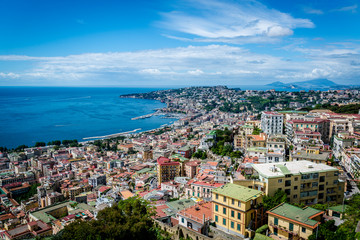 Cityscape and Bay of Naples from Castel Sant'Elmo, a medieval fortress, Naples, Italy