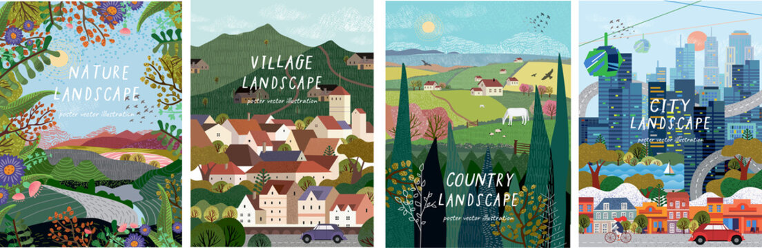 Nature, village, country, city landscapes. Vector illustration of natural, urban and rustic background for poster, banner, card, brochure or cover.