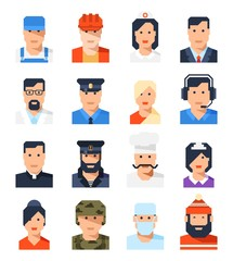 Flat avatars of the professions of men and women. Vector illustration.